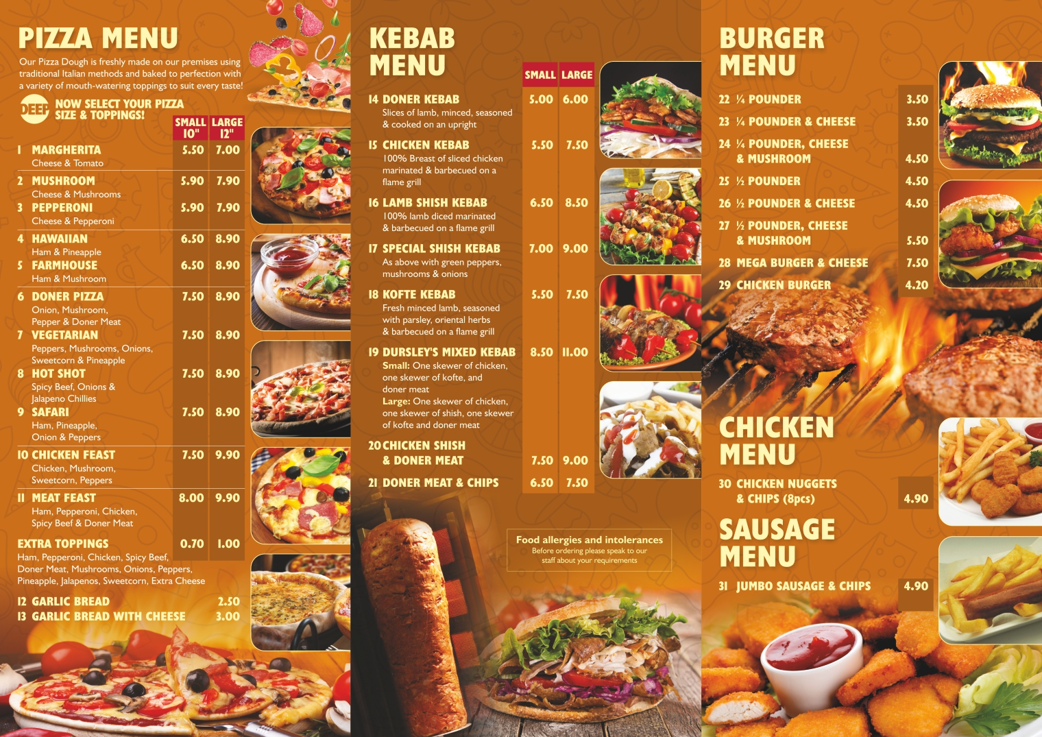Takeaway Menu 1 - Dursley & Cam's Kebab & Pizza House - GL11