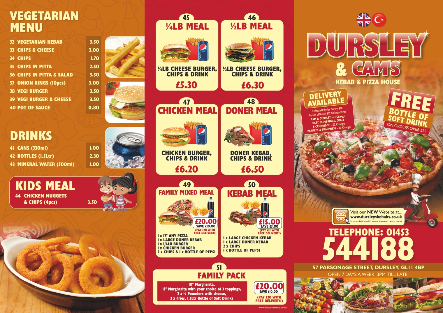 Takeaway Menu 2 - Dursley & Cam's Kebab & Pizza House - GL11